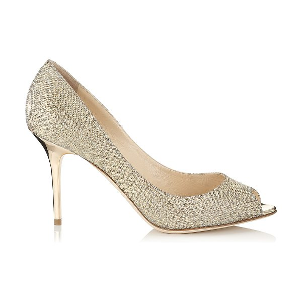 JIMMY CHOO EVELYN Gold Lamé Glitter Peep Toe Pumps - Shimmering peep toes are a pretty choice for evening...