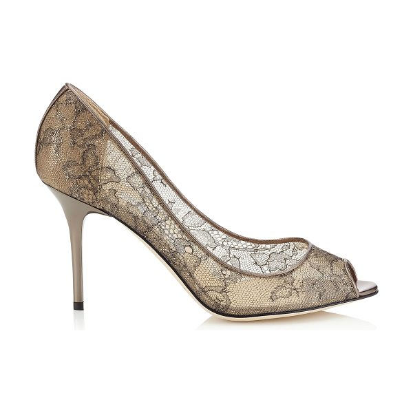 Jimmy Choo Evelyn light honey metallic lace peep toe pumps in light honey - A timeless peep toe pump on a wearable heel height....