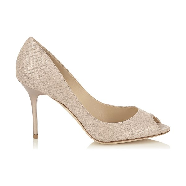 Jimmy Choo Evelyn nude pearlised printed leather peep toe pumps in nude - A timeless peep toe pump on a wearable heel height. Made...