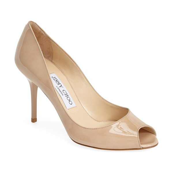 Jimmy Choo evelyn pump in nude - A low-cut topline flatters from every angle in an...