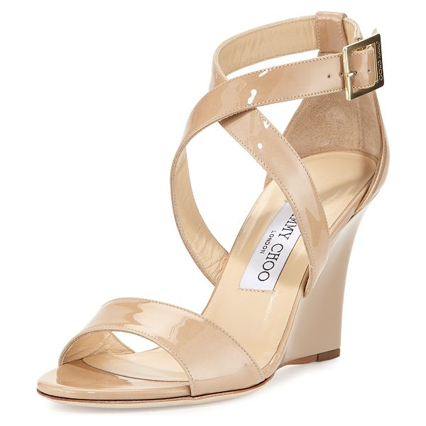 "Jimmy Choo Fearne Patent Crisscross Wedge Sandal in nude - Jimmy Choo patent leather sandal. 3.3"" covered wedge..."