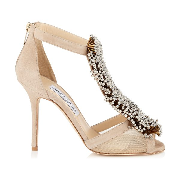 Jimmy Choo Feline nude suede and mesh sandals with beaded detail in nude
