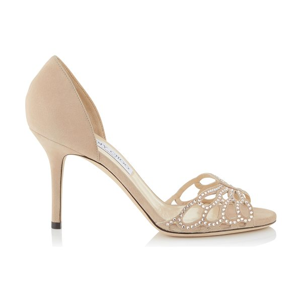 Jimmy Choo Fergis 85 nude suede with hotfix crystals and satin sandals in nude