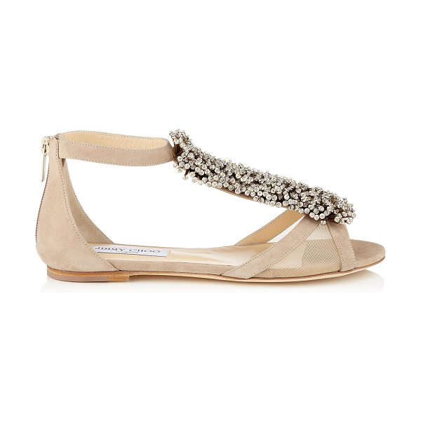 JIMMY CHOO Feud nude suede and mesh flat sandals with beaded detail - The beaded adornment really takes centre stage on this...