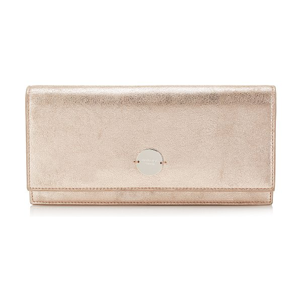 JIMMY CHOO FIE Ballet Pink Metallic Leather Clutch Bag - The Fie clutch in ballet pink metallic leather, has a...