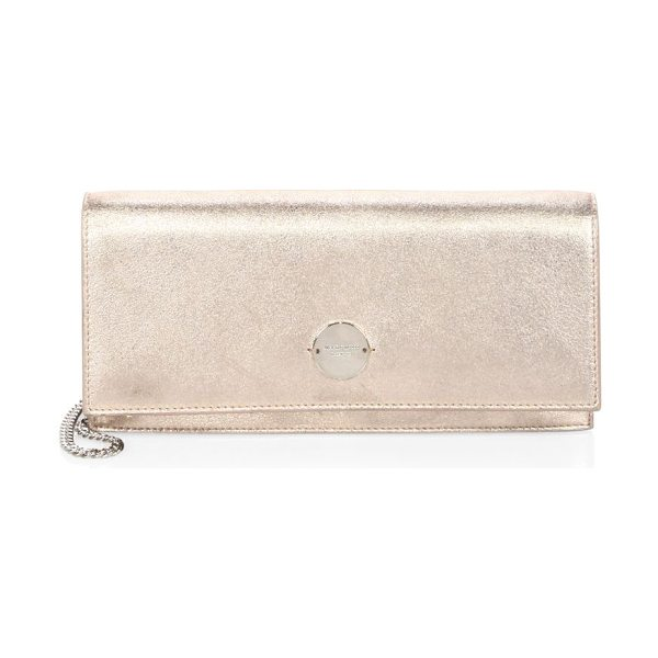 Jimmy Choo fie metallic leather chain clutch in ballet pink - Fold-over metallic clutch with logo-engraved clasp....