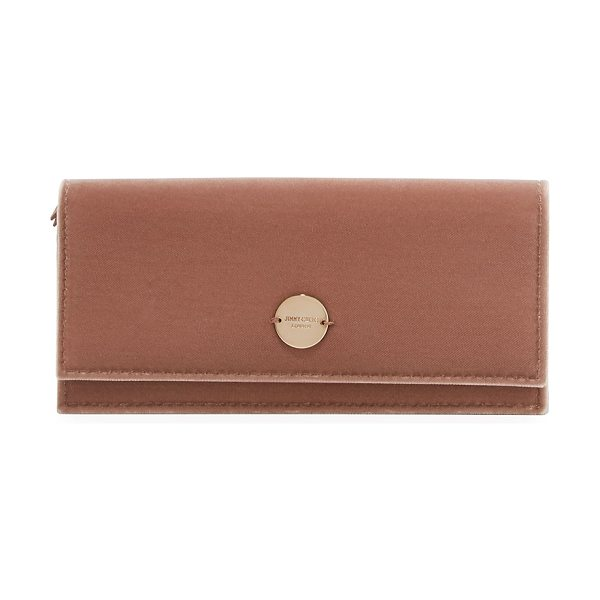 Jimmy Choo Fie Velvet Evening Clutch Bag in light pink - Jimmy Choo velvet evening clutch bag with leather trim....