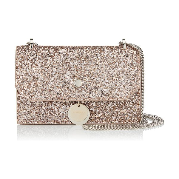 Jimmy Choo FINLEY Ballet Pink Shadow Coarse Glitter Fabric Cross Body Mini Bag in ballet pink