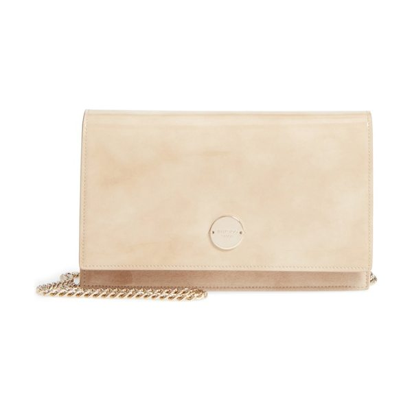 Jimmy Choo florence patent leather & suede clutch in nude - Glossy patent leather and plush suede make for a chic...