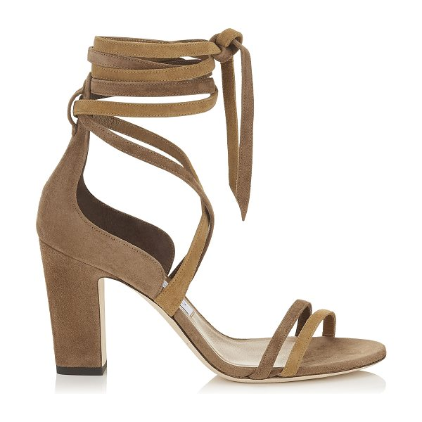 JIMMY CHOO FLYNN 85 Hazel Suede Mix Sandals - The Flynn sandal, in hazel mix suede, is the...