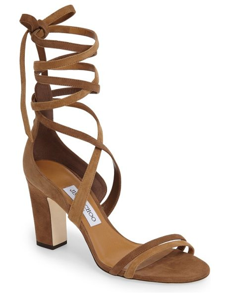 Jimmy Choo jimmy choo flynn sandal in hazel mix - Sinous suede straps wrap your ankle in a scene-stealing...
