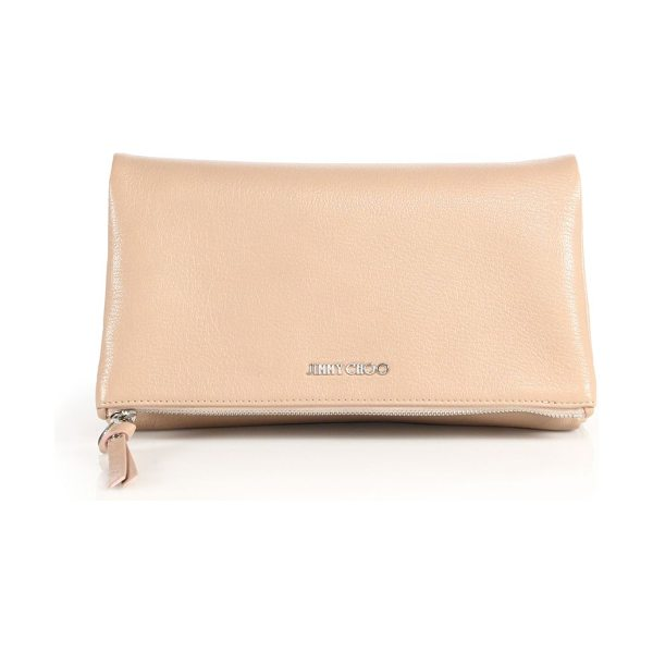 Jimmy Choo nyla leather fold-over clutch in balletpink - Smooth leather clutch with a chic fold-over shape. Top...
