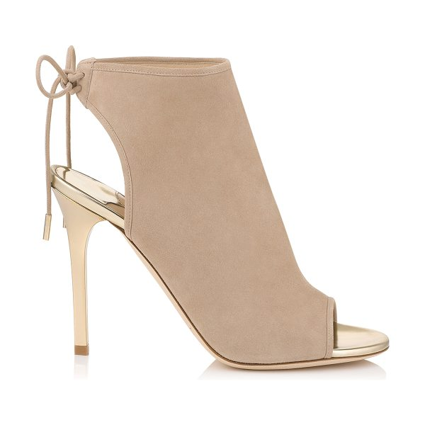 Jimmy Choo Froze nude suede and champagne mirror leather sandal booties in nude/champagne