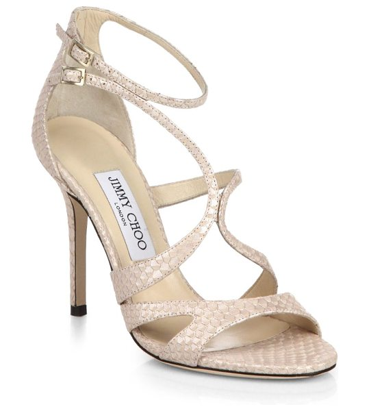Jimmy Choo Furrow snake-embossed leather sandals in nude - Gracefully curved straps create a sculptural look in a...