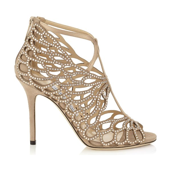 Jimmy Choo Fyonn 100 nude suede sandals in nude - A beautifully sculpted sandal with a leaf like laser cut...