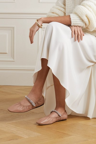 Jimmy Choo gai crystal-embellished glossed-leather ballet flats in neutral