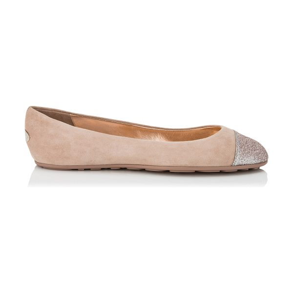Jimmy Choo GAZE FLAT Ballet Pink Suede Ballerina Flats with Tea Rose Fine Glitter Toe Cap Detail in ballet pink/tea rose - The Gaze flat in ballet pink suede is a true round toe...