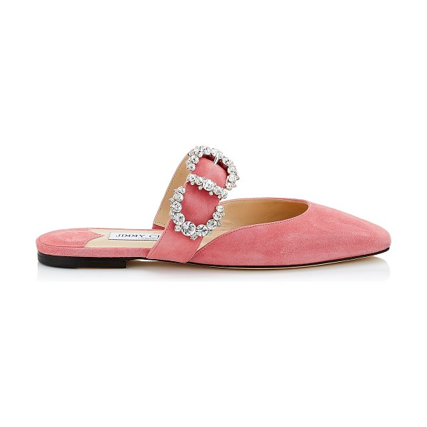 Jimmy Choo GEE FLAT Candyfloss Suede Flat Sandal with Jewelled Buckle in candyfloss