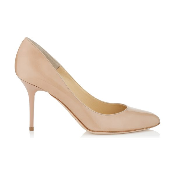 Jimmy Choo Gilbert nude patent leather round toe pumps in nude - These perfectly proportioned round toe pumps will become...
