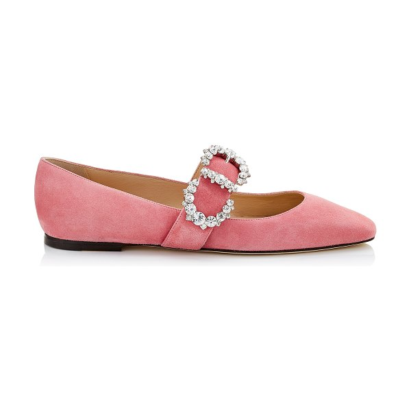 Jimmy Choo GOODWIN FLAT Candyfloss Suede Pointed Toe Ballerina Flat with Jewelled Buckle in candyfloss