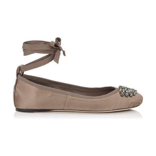 Jimmy Choo GRACE FLAT Light Mocha Satin and Grosgrain Ribbon Ballerina Flats in light mocha - Grace is a beautiful jewelled ballerina with a leather...