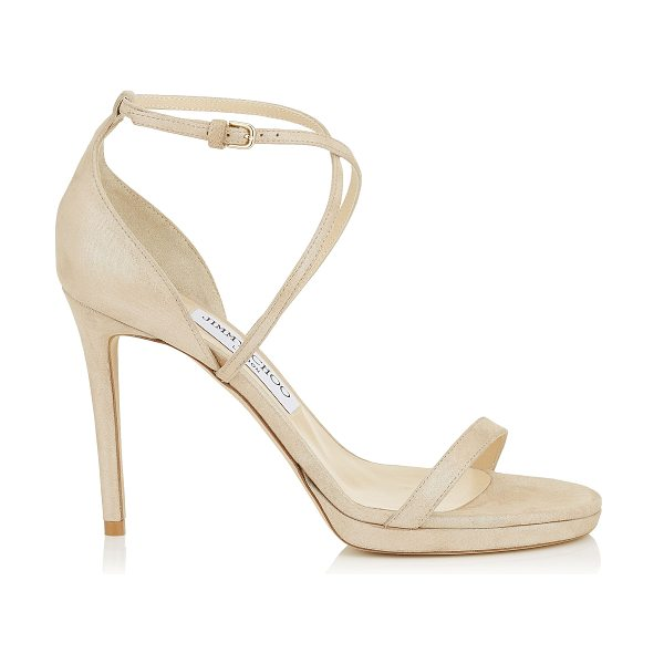 Jimmy Choo HARPER 100 Sand Shimmer Suede Sandals in sand - Set to be a red carpet favourite, Harper 100 in sand...