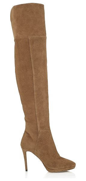 Jimmy Choo HAYLEY 100 Khaki Brown Suede Over-The-Knee Boots in khaki brown - A statement platform over-the-knee boot is a wardrobe...