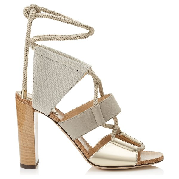 Jimmy Choo Henni 100 mirror leather, suede and canvas sandals in light champagne/light khaki - A five piece upper attached and looped around rope that...