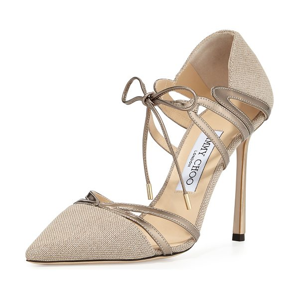 Jimmy Choo Hime 100mm Canvas d'Orsay Pump in nude - Jimmy Choo metallic canvas pump with mirrored leather...