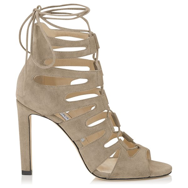 JIMMY CHOO HITCH 100 Light Mocha Suede Strappy Sandals - An intricately designed strappy sandal that embodies the...