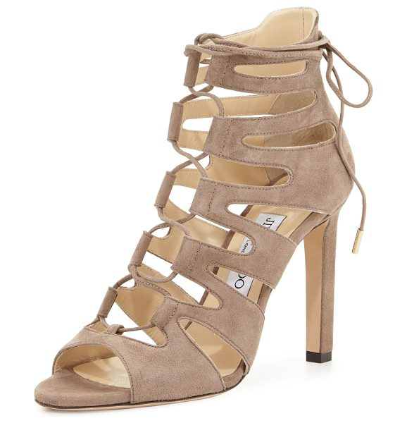 "Jimmy Choo Hitch Caged Suede Sandal in mocha - Jimmy Choo suede caged sandal. 4"" covered heel. Open..."