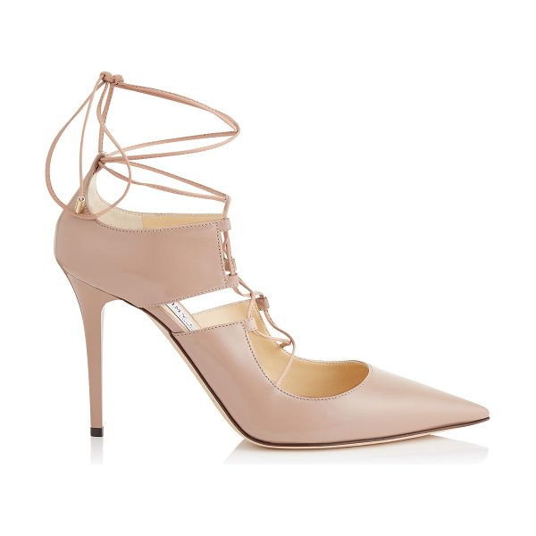 Jimmy Choo Hoops 100 ballet pink shiny leather pointy toe lace up pumps in ballet pink
