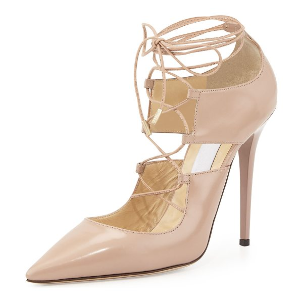 "JIMMY CHOO Hoops lace-up leather pump - Jimmy Choo pump in shiny leather. 4. 5"" lacquered heel...."