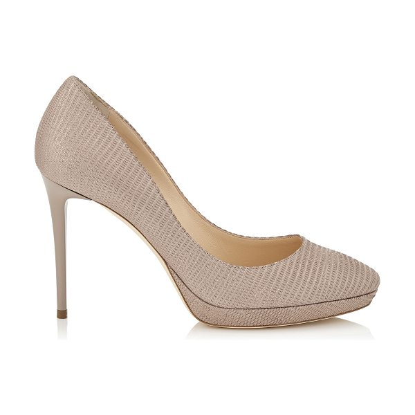 Jimmy Choo HOPE 100 Nude Glitter Printed Leather Round Toe Platform Pumps in nude - A stylish and modern round toe platform pump. Leather...