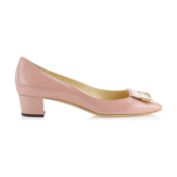 Jimmy Choo Iris blush patent square toe pumps in blush - Step out in lady like style with these demure timeless...