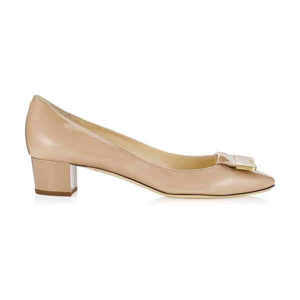 Jimmy Choo Iris nude patent square toe pumps in nude - Step out in lady like style with these demure timeless...