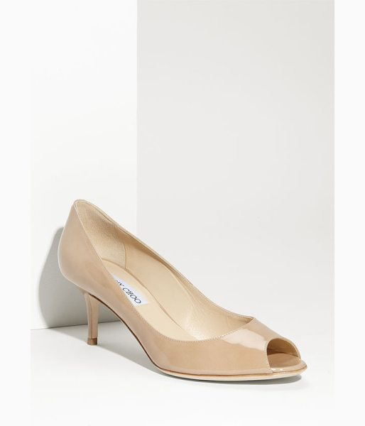 Jimmy Choo isabel pump in nude patent - Textured, glittering fabric styles a glamorous peep-toe...