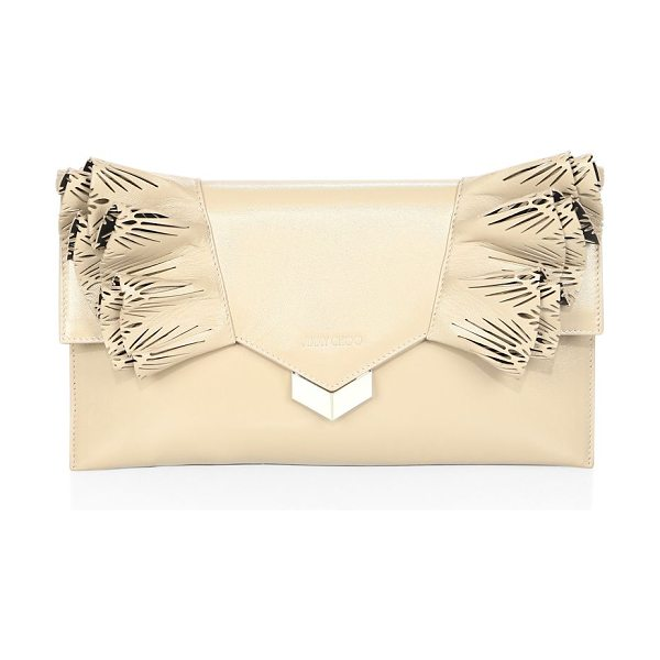 JIMMY CHOO isabella ruffled leather flap clutch - Sharp leather flap clutch with laser-cut ruffled tiers....