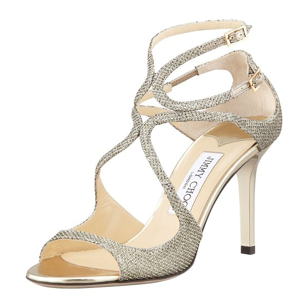 Jimmy Choo Ivette Glitter Fabric Crisscross Sandal in light bronze - Glitter fabric sandal with arced straps over vamp. Two...