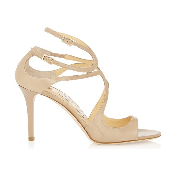 Jimmy Choo IVETTE Nude Patent Leather Strappy Sandals in nude
