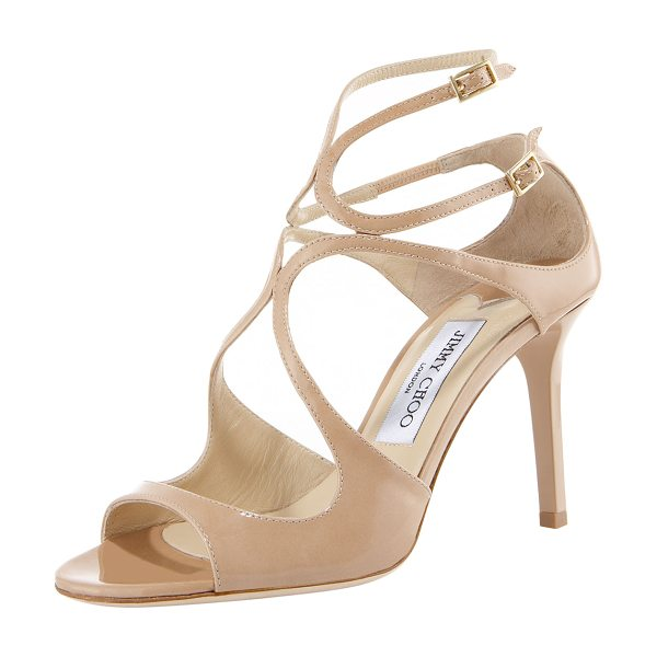Jimmy Choo Ivette Patent Sandal in nude - Patent leather sandal with arced straps over vamp. Two...