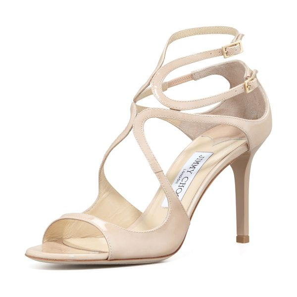 Jimmy Choo Ivette Strappy Patent Sandals in flesh - Patent leather sandal with arced straps over vamp. Two...