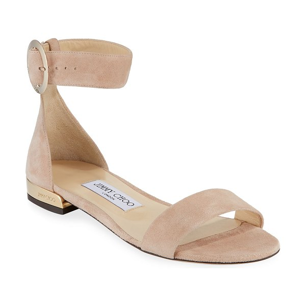 Jimmy Choo Jaime Suede Ankle-Strap Flat Sandals in pink