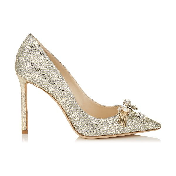 Jimmy Choo JASMINE 100 Champagne Glitter Fabric Pointy Toe Pumps with Jewelled Buttons in champagne - The classic pointy toe pump has been slightly updated...