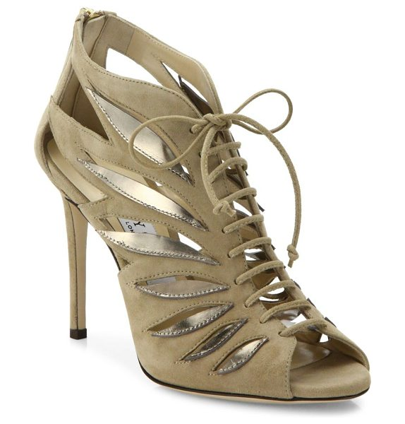 Jimmy Choo keena 100 cutout suede lace-up sandals in nude - Cutout suede lace-up sandal with metallic winged...