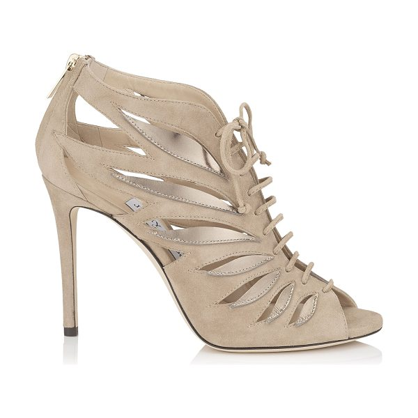 Jimmy Choo KEENA 100 Nude Mix Suede and Mirror Leather Sandal Booties in nude mix - Rich cut out detailing define the Keena sandal bootie....