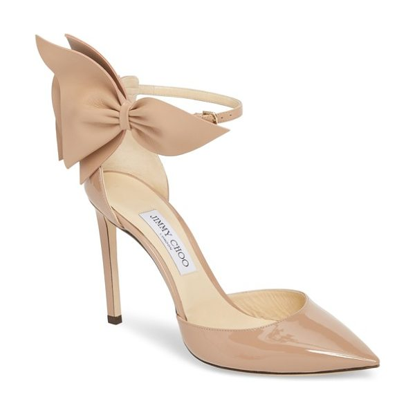 Jimmy Choo kelley bow pointy toe pump in pink - Less prim than punk rock, these glossy, pointy-toe pumps...