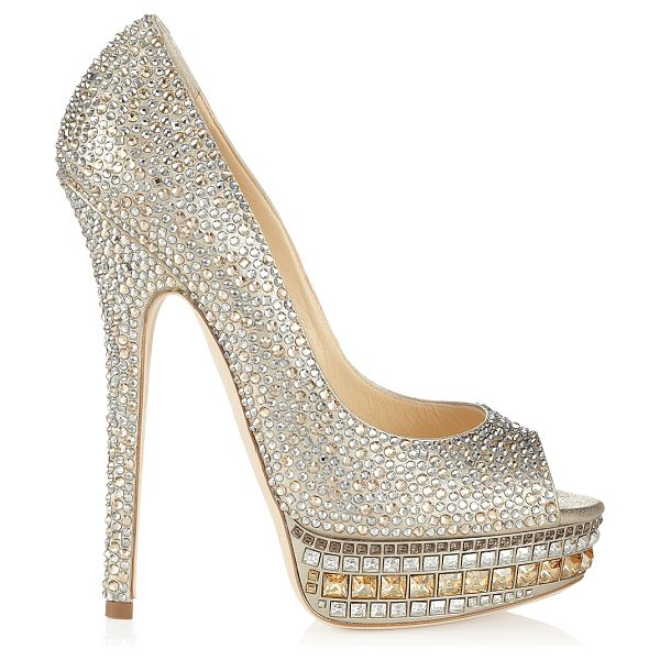 JIMMY CHOO Kendall champagne leather and crystal platform pumps - Kendall embodies the glamour and luminescence for which...