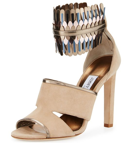 JIMMY CHOO Klara Suede Ankle-Wrap 110mm Sandal in beige - EXCLUSIVELY AT NEIMAN MARCUS Jimmy Choo suede sandal....