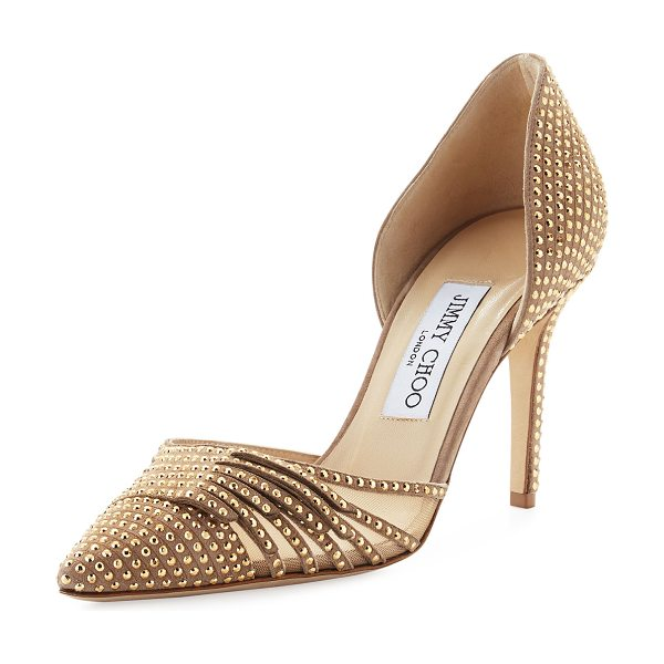 "JIMMY CHOO Kyra Studded 85mm d'Orsay Pump - Jimmy Choo studded suede pump with mesh side. 3.3""..."